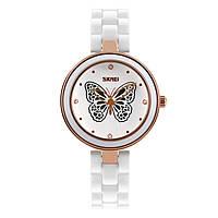 Skmei 9131 белые женские часы с оригинальными вставками, фото 1