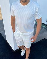 Білий літній комплект шорти + футболка | Туреччина | віскоза + поліестер + лайкра