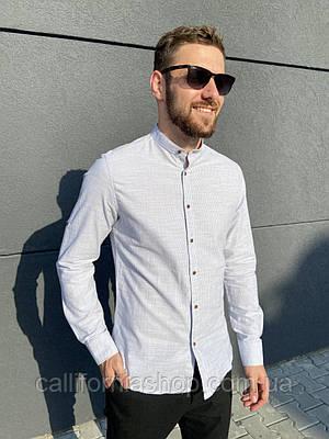 Мужская рубашка в полоску из льна без воротника с длинным рукавом