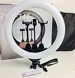 Кольцевая LED лампа ZB-F348 1 диаметром 45 см со штативом и пультом и тремя держателями, Кольцевой led прожект, фото 6