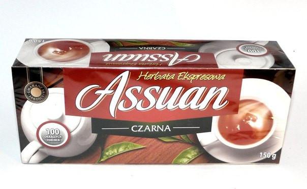 Чорний чай в пакетиках без добавок Assuan Czarna, 150г, Польща