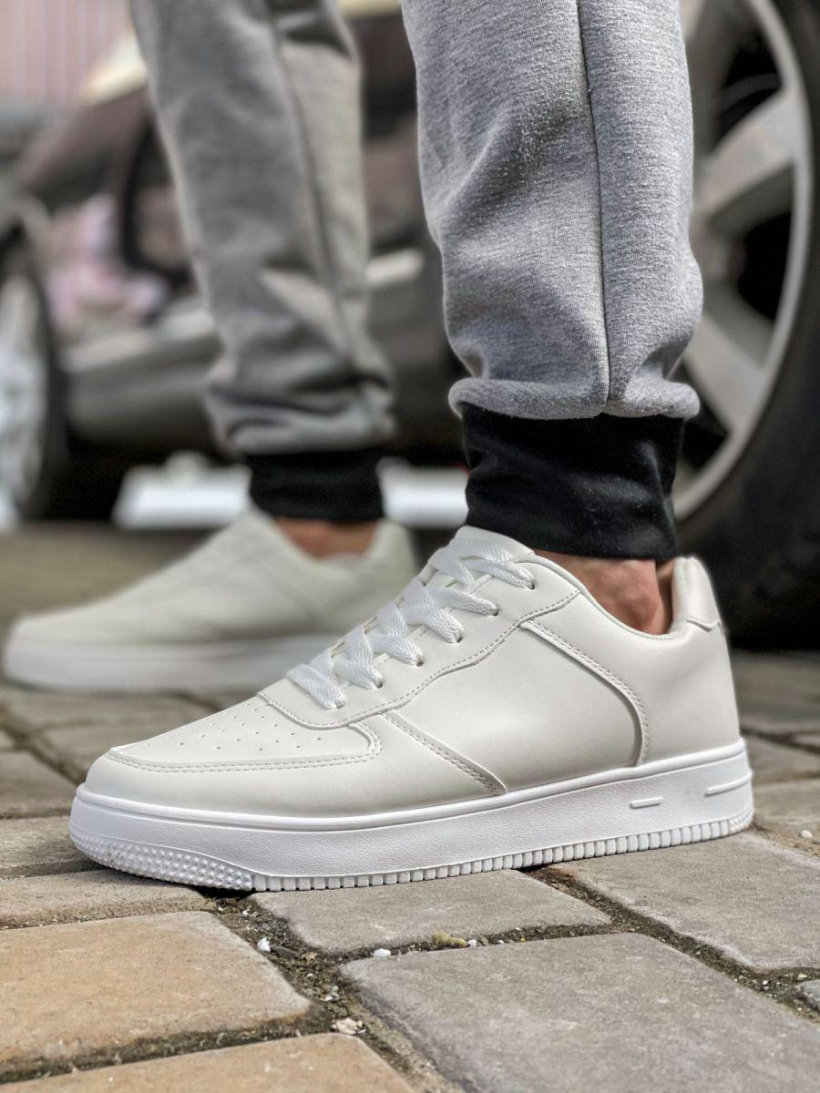 Чоловічі кросівки кеди білі AirForce шкіряні