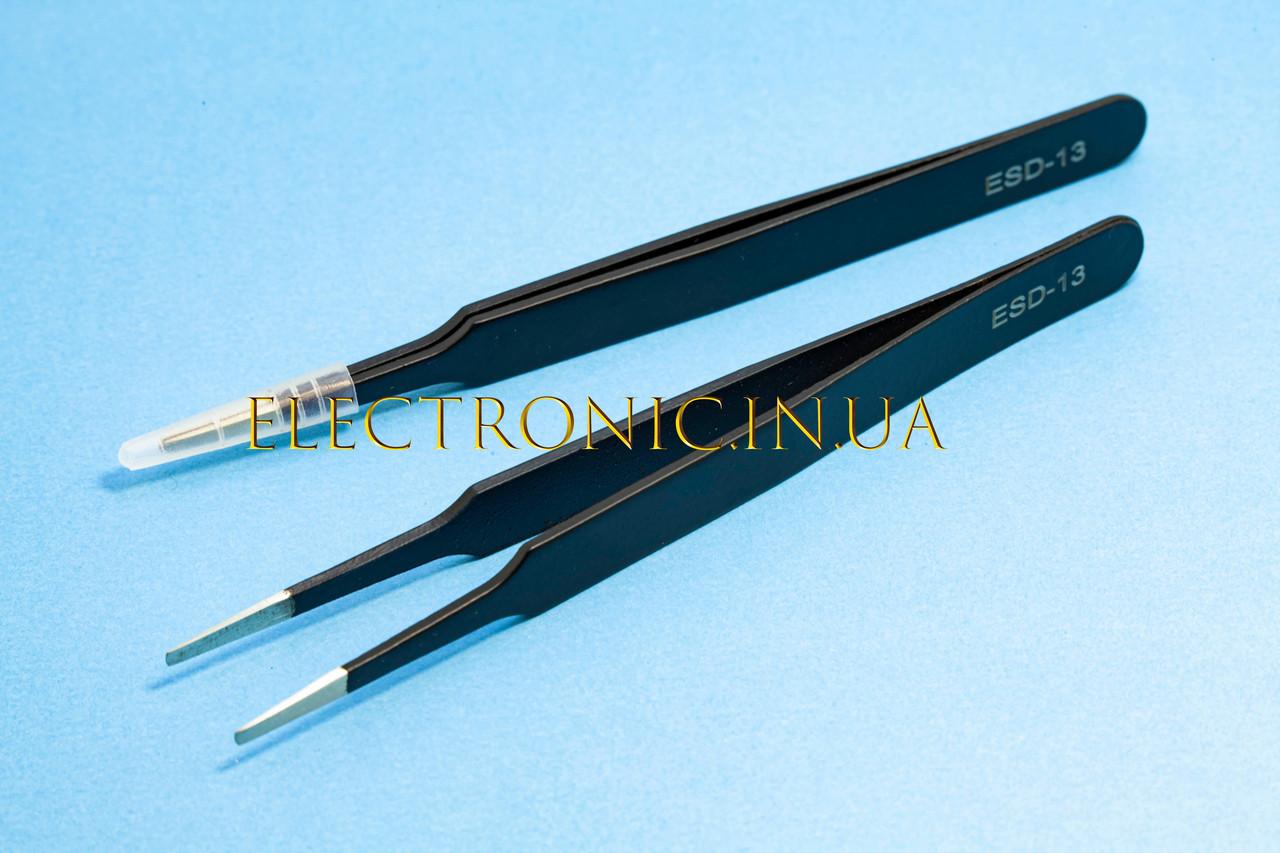 Пінцет ESD-13 антистатичний прямий широкі губки 120mm