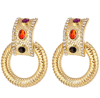 Женские серьги подвески Кольца золотые с камнями