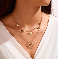 Ожерелье цепочка Бабочки золотистые