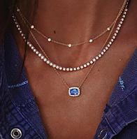 Цепочка тройная Голубой камень