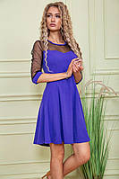 Платье нарядное фиолетовое рукав сетка (персиковый , синий) Ag