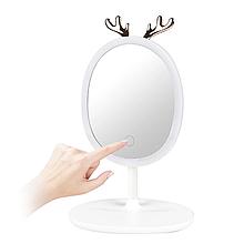 Косметичне дзеркало для макіяжу з LED підсвічуванням і утримувачем для біжутерії · Овальне дзеркало настільне