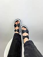 Жіночі чорні спортивні босоніжки на липучках з натуральної шкіри. Розміри 36-41, фото 1