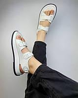 Женские белые спортивные босоножки из натуральной кожи на липучках. Размеры 36-41, фото 1