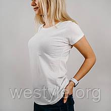 Футболка женская однотонная хлопковая - белый цвет