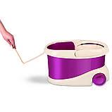Набір для прибирання Planet Spin Mop Gold 20 л + плоска швабра пурпурний, фото 2