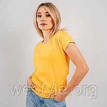 Футболка женская однотонная хлопковая - солнечно-желтый цвет