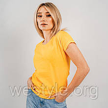 Футболка жіноча однотонна тканина - сонячно-жовтий колір