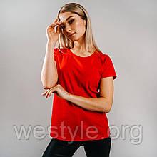 Футболка женская однотонная хлопковая - красный цвет