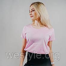 Футболка женская однотонная хлопковая - светло-розовый цвет