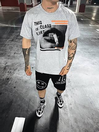 Мужская футболка oversize серого цвета с принтом, фото 2
