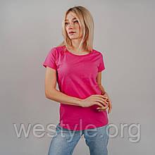 Футболка женская однотонная хлопковая - малиновый цвет