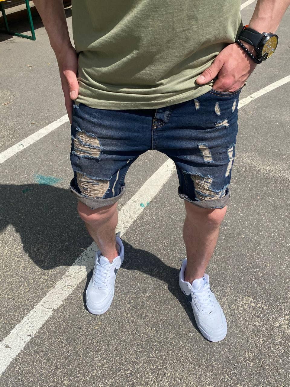 Мужские джинсовые шорты МОМ темно-синие рваные