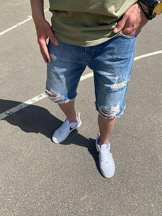 Чоловічі джинсові шорти МОМ сині з розривами, фото 2