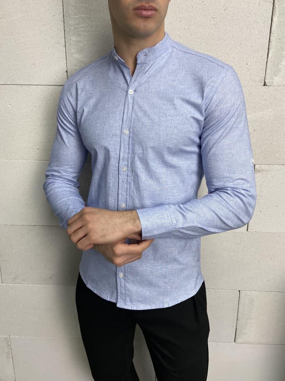 Чоловіча байкова сорочка блакитного кольору