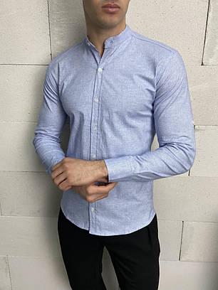 Чоловіча байкова сорочка блакитного кольору, фото 2