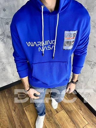 Чоловіча кофта-худі синього кольору з написами, фото 2