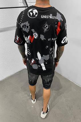 Мужская футболка oversize черного цвета расписанная, фото 2