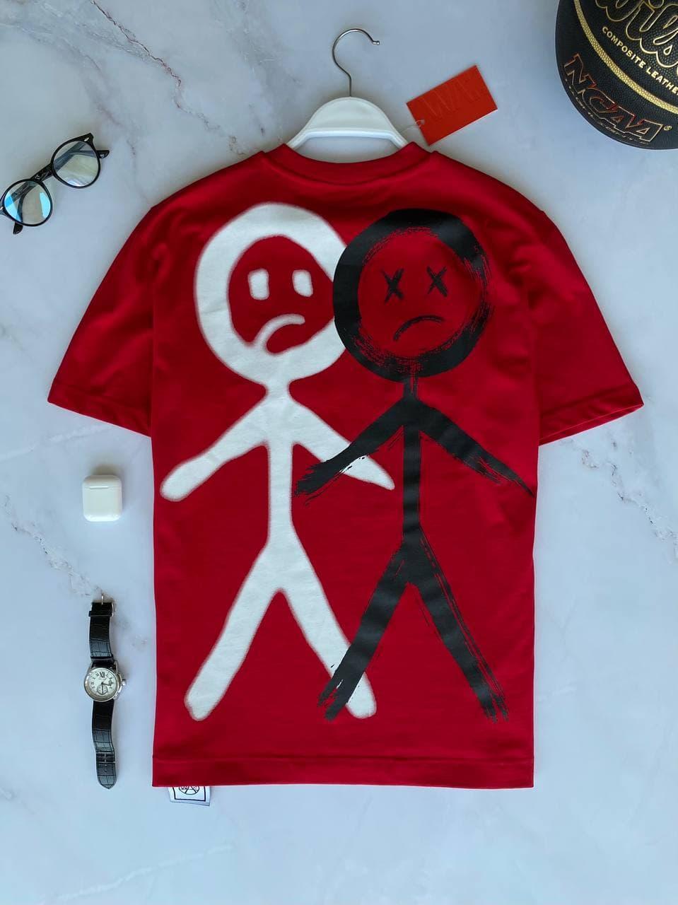 Мужская футболка oversize красного цвета с принтом