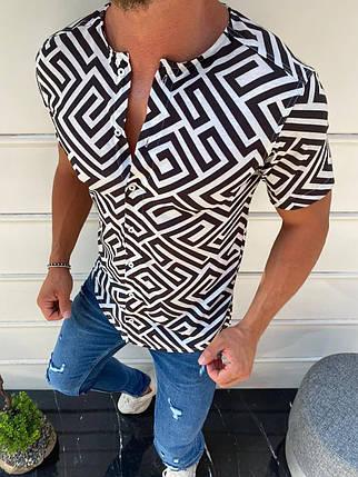Мужская летняя рубашка бело-черного цвета, фото 2