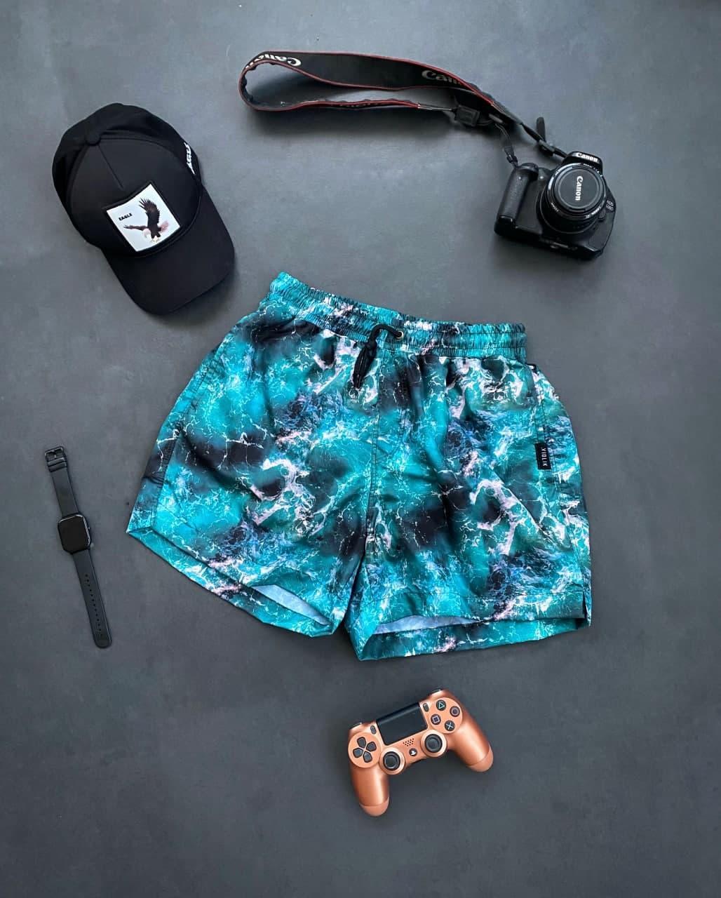 Чоловічі плавальні шорти блакитні з чорним