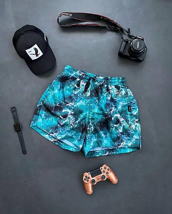 Чоловічі плавальні шорти блакитні з чорним, фото 2