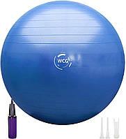 М'яч для фітнесу (фітбол) WCG 55 Anti-Burst 300кг Блакитний + насос, фото 1