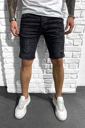 Чоловічі джинсові шорти чорного кольору з потертостями, фото 2