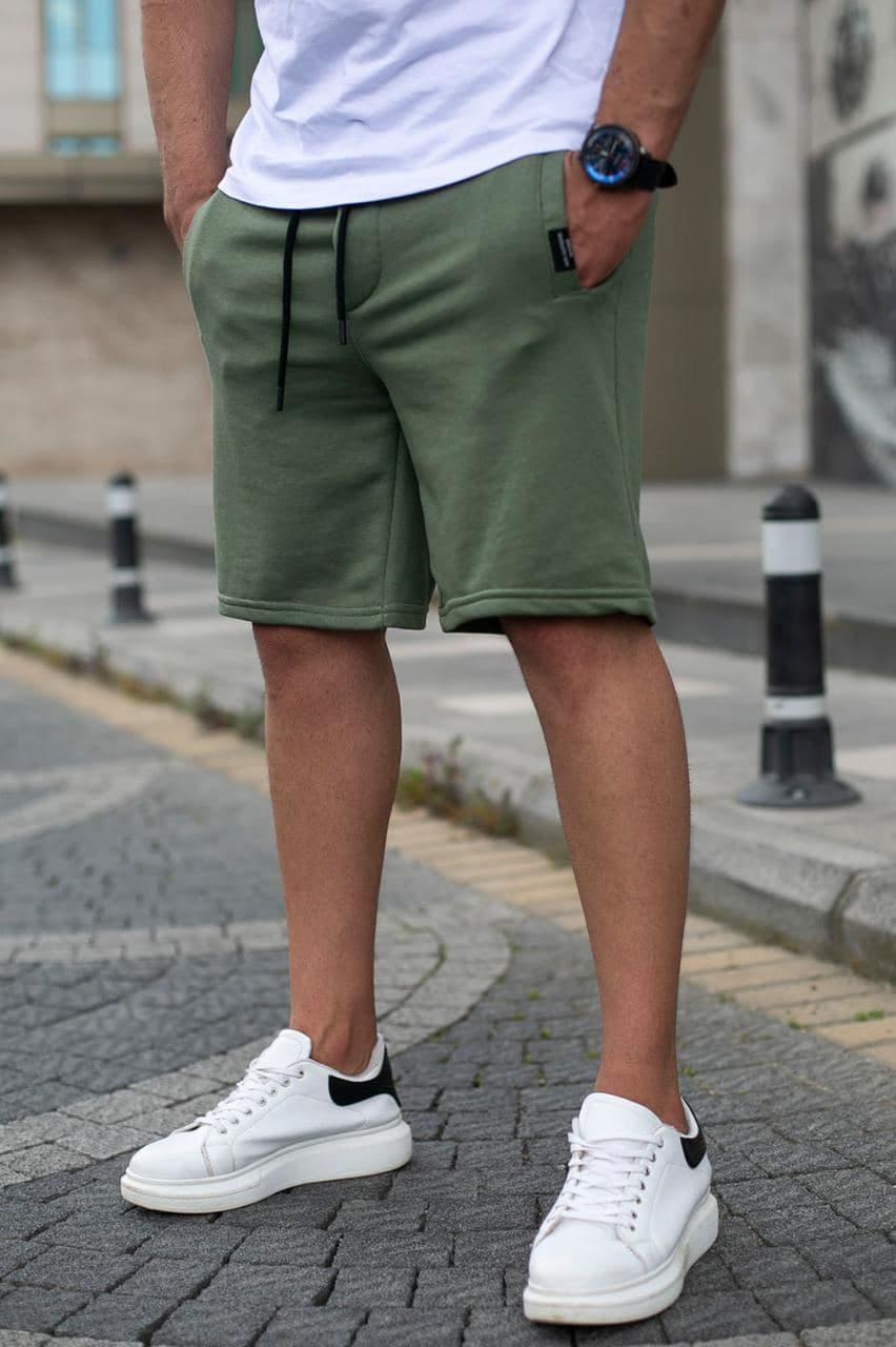 Мужские трикотажные шорты цвета хаки