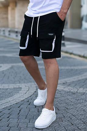 Чоловічі трикотажні шорти чорного кольору з накладними кишенями, фото 2