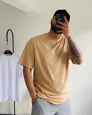 Мужская футболка oversize бежевого цвета, фото 2