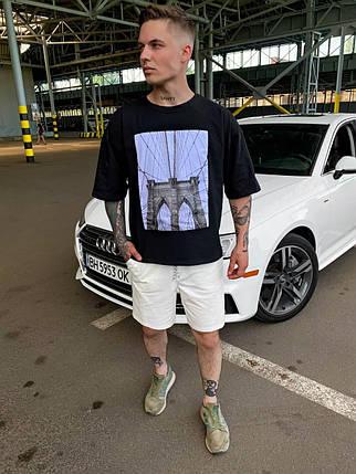 Чоловіча футболка oversize з принтом чорного кольору, фото 2