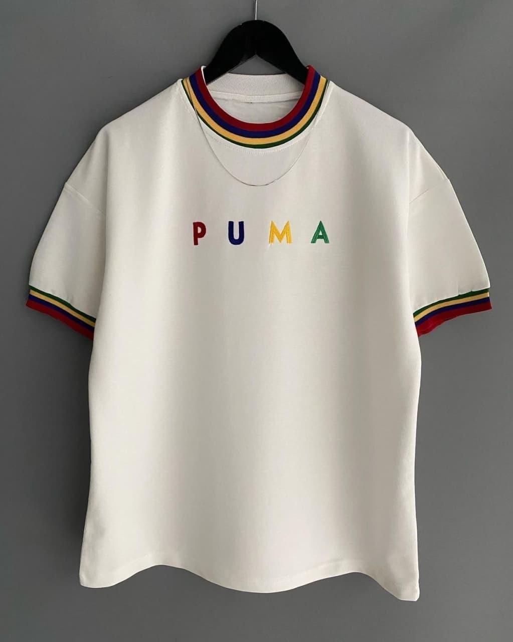 Мужская футболка oversize Пума белого цвета