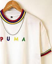 Мужская футболка oversize Пума белого цвета, фото 2