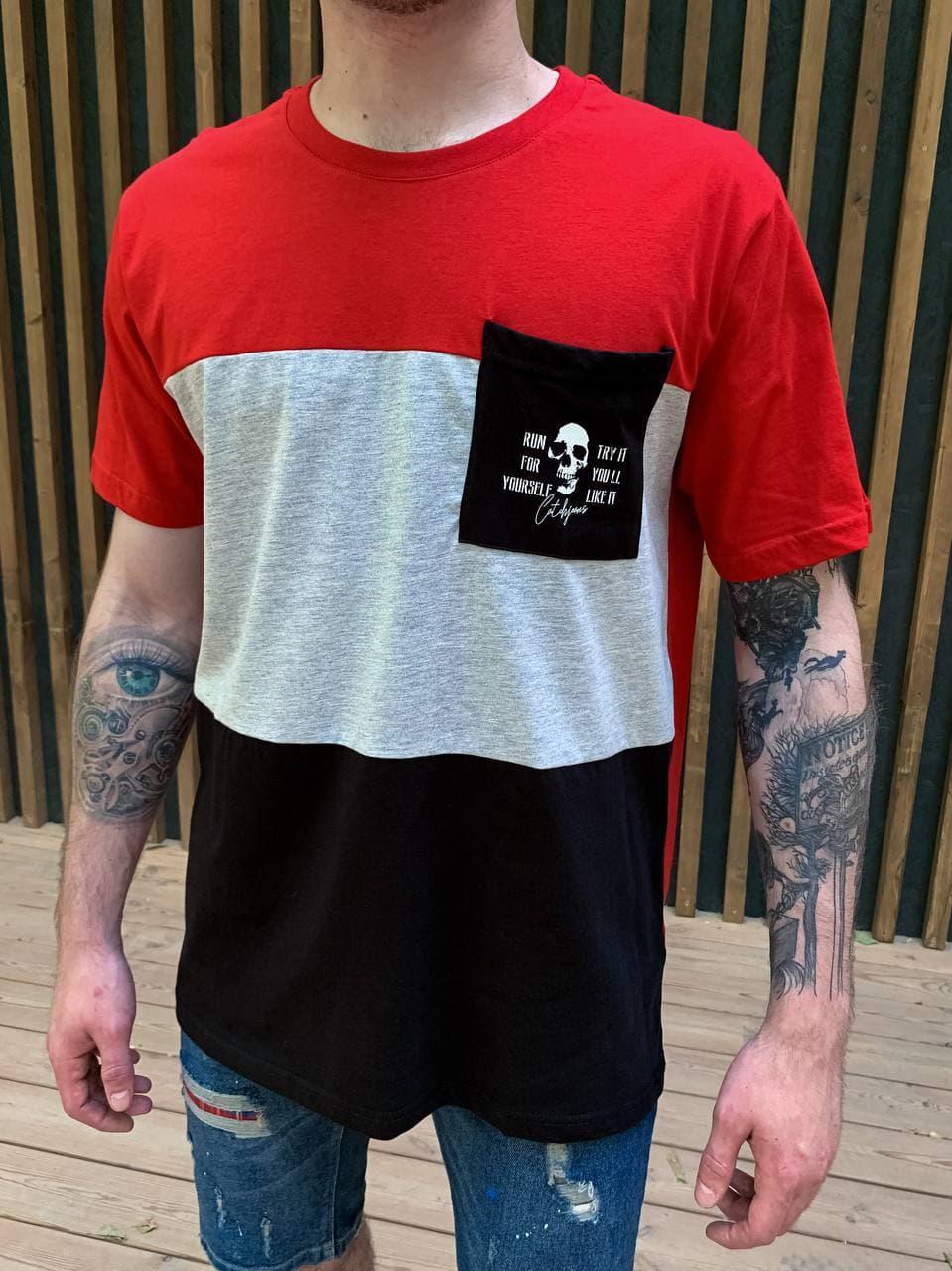 Чоловіча футболка oversize червоно-сірого кольору з кишенею