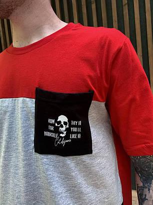 Чоловіча футболка oversize червоно-сірого кольору з кишенею, фото 2