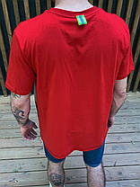 Чоловіча футболка oversize червоно-сірого кольору з кишенею, фото 3