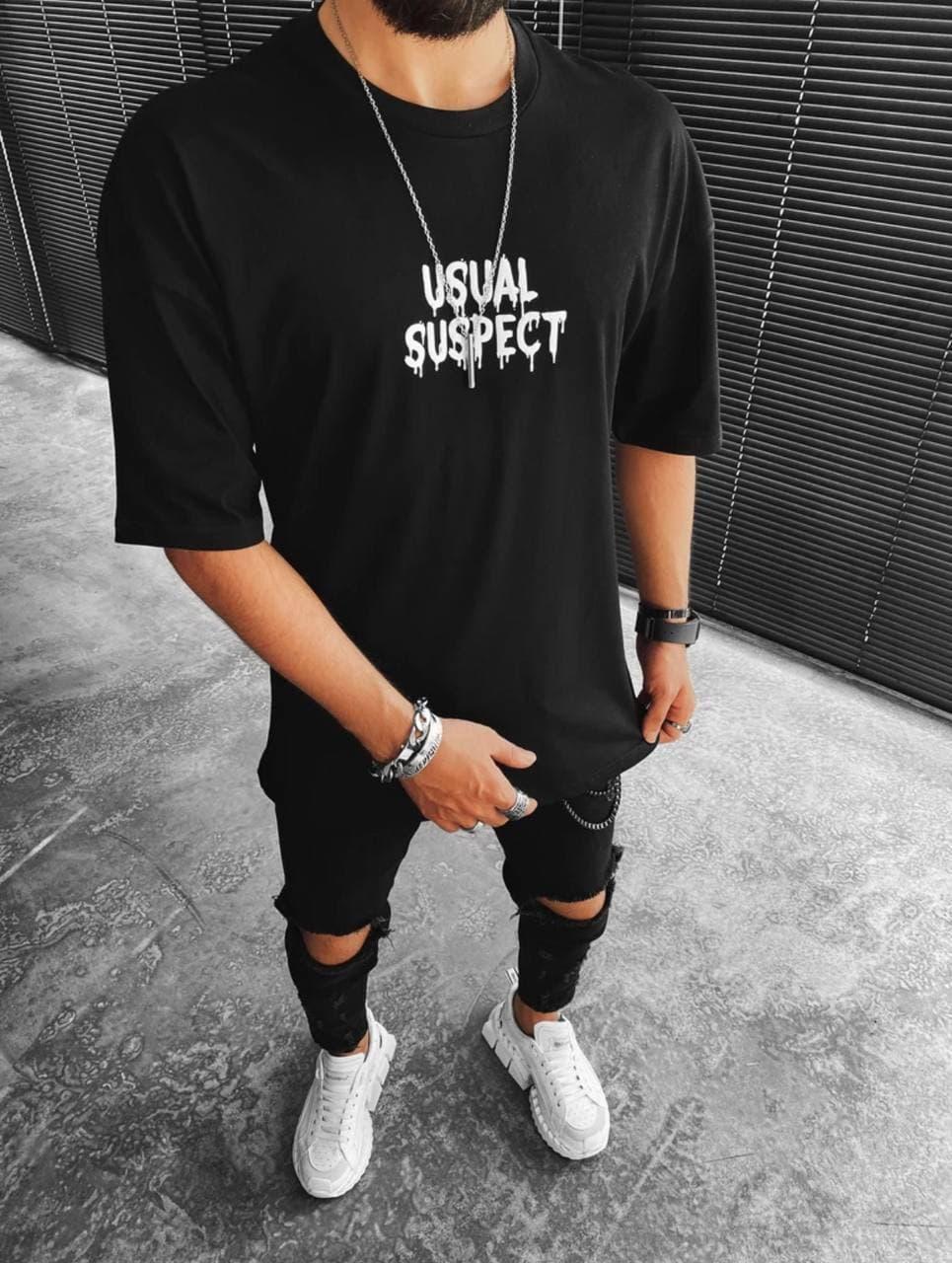Чоловіча футболка oversize чорного кольору з Міккі