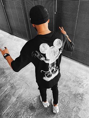 Чоловіча футболка oversize чорного кольору з Міккі, фото 2