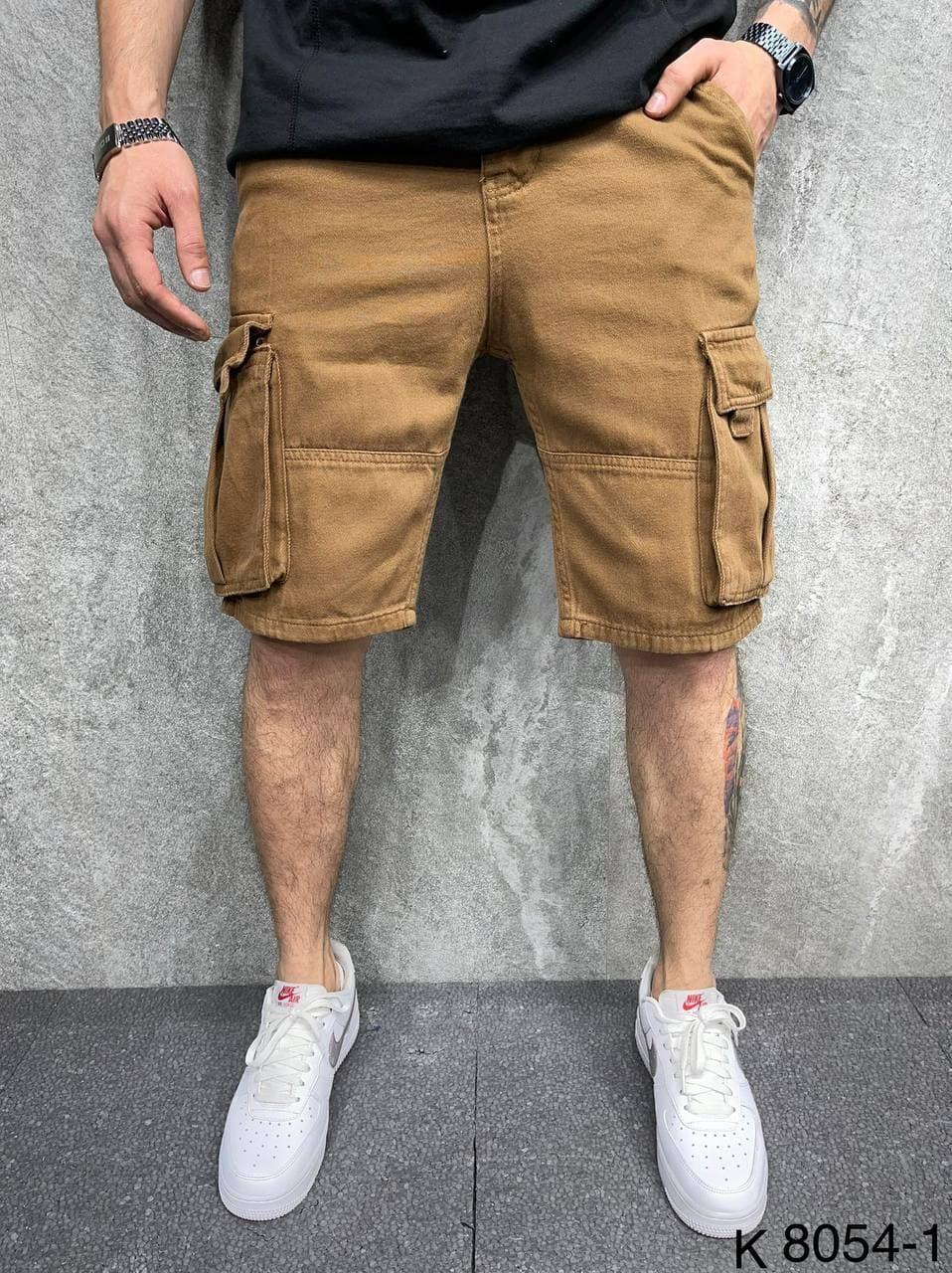 Мужские джинсовые шорты-карго коричневого цвета