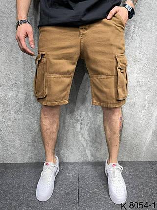 Мужские джинсовые шорты-карго коричневого цвета, фото 2