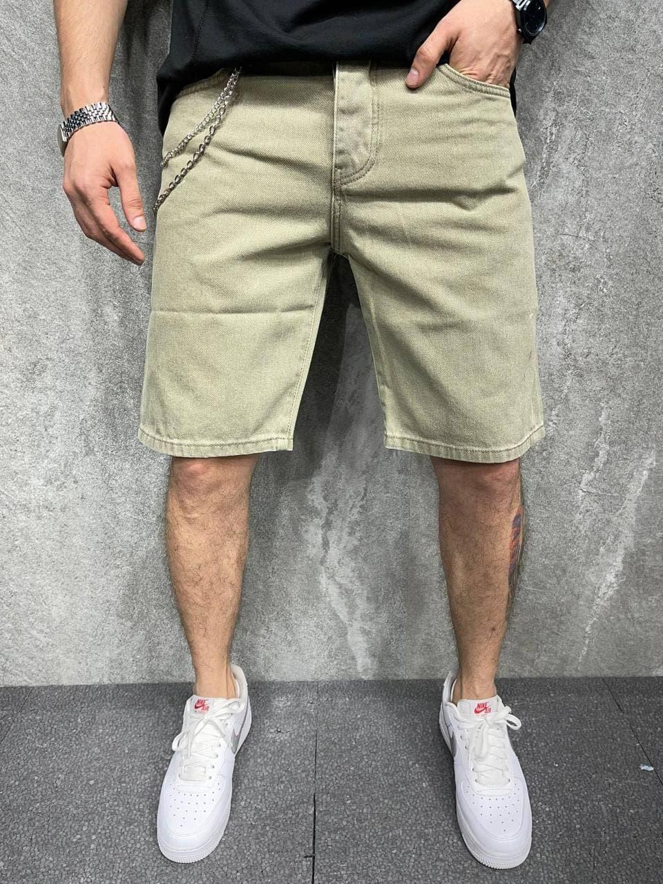 Чоловічі джинсові шорти кольору хакі