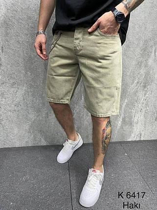 Чоловічі джинсові шорти кольору хакі, фото 2