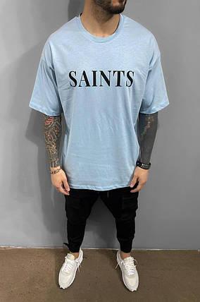 Мужская футболка oversize голубая с надписью, фото 2